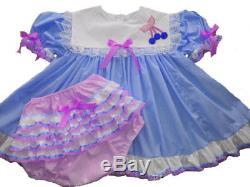 Adult Baby Sissy Blue Cherry Pie Dress Set Binkies n Bows