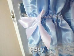 Adult Baby Sissy Blue Satin Pretty Frilly Ruffle Dress 42 Long Puffed Sleeves
