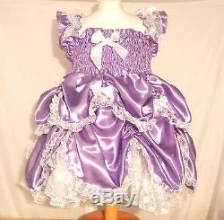 Adult Baby Sissy Boi Frilly Satin FULL Dress Fitted Petticoat lace fancy cosplay