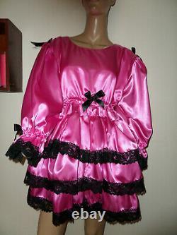 Adult Baby Sissy Deep Pink Satin Pretty Frilly Ruffle Dress 52 Black Lace Trim