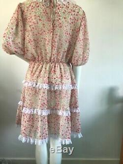 Adult Baby Sissy Dress pink floral semi sheer fabric up to 44 chest