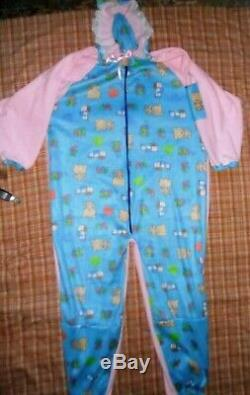 Adult Baby Sissy Footie Pajamas With Hood Allover One Piece Dress