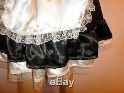 Adult Baby Sissy French Maid Satin Dress 46 Pretty Frill Hem Apron + Mop Cap