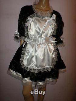 Adult Baby Sissy French Maid Satin Dress 52 Pretty Frill Hem Apron + Mop Cap