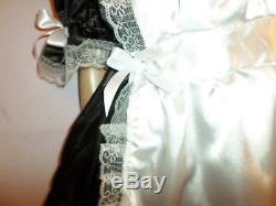 Adult Baby Sissy French Maid Satin Dress 52 Pretty Frill Hem Apron + Mop Cap