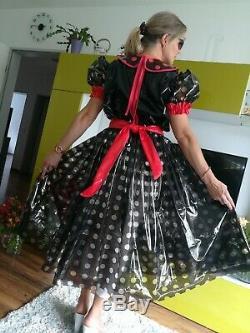 Adult Baby Sissy Kleid Zofe LACK PVC TRAVESTIE DIRNDL DIENSTMÄDCHEN PLASTIK XL