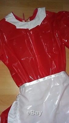 Adult Baby Sissy Kleid Zofe LACK PVC TRAVESTIE DIRNDL DIENSTMÄDCHEN SCHÜRTZE XL