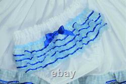 Adult Baby Sissy Littles ABDL Blue Gingham BABY GIRL embroidered Dress Set BnB
