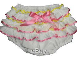 Adult Baby Sissy Littles BIRTHDAY CAKE Diaper Cover Binkies n Bows Dress Up