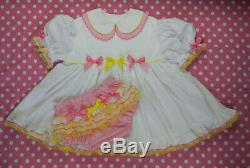 Adult Baby Sissy Littles NEW White BIRTHDAY CAKE DOUBLE CUTIE COLLAR Dress Set