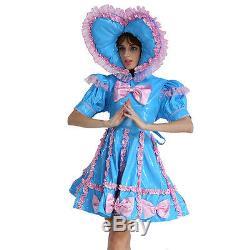 Adult Baby Sissy Lockable Maid PVC Sweet Heart Blue Dress Costume Crossdress