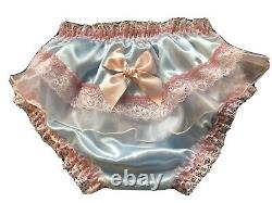 Adult Baby Sissy Panties, Baby blue Satin, Waist 38-42 Custom Made
