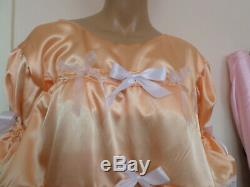 Adult Baby Sissy Peach Satin Pretty Frilly Baby Doll Dress 48 + Panties