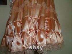 Adult Baby Sissy Peach Satin Pretty Frilly Dress 46 Chest White Lace