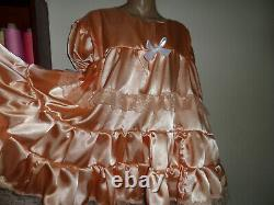 Adult Baby Sissy Peach Satin Pretty Frilly Dress 50 Chest White Lace