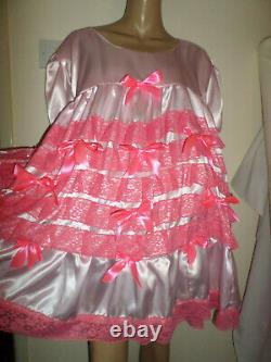 Adult Baby Sissy Pink Satin Bright Ruffle Lace Dress 52 Short Puffed Sleeves