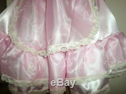 Adult Baby Sissy Pink Satin Organza Pretty Frilly Dress 52 Puffed Sleeves