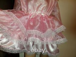 Adult Baby Sissy Pink Satin Organza Pretty Ruffle Dress 46 Puffed Sleeves