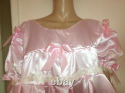 Adult Baby Sissy Pink Satin Pretty Frilly Baby Doll Dress 46 Chest 26 Long