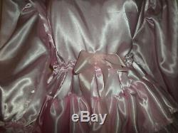 Adult Baby Sissy Pink Satin Pretty Frilly Ruffle Dress 46 Long Puffed Sleeves