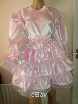 Adult Baby Sissy Pink Satin Pretty Frilly Ruffle Dress 52 Long Puffed Sleeves