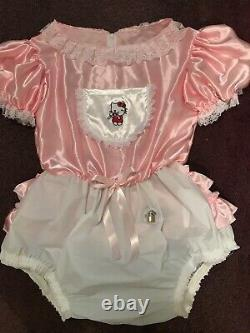 Adult Baby Sissy Pink Satin Waterproof Romper /Playsuit up to 46 Chest Lockable