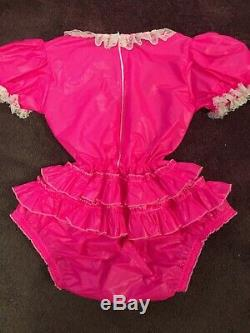 Adult Baby Sissy Pink Waterproof Romper / Playsuit up to 42 Chest