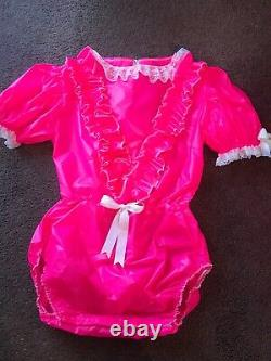 Adult Baby Sissy Pink Waterproof Romper /Playsuit up to 42 Chest Lockable