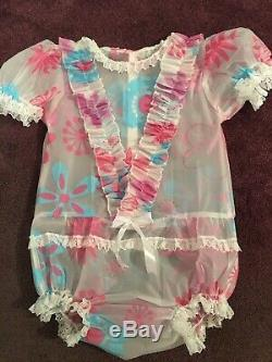 Adult Baby Sissy Pink and Blue Waterproof Romper / Playsuit up to 40 Chest