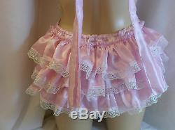 Adult Baby Sissy Satin Ruffle Bum Romper Dungeries Sunsuit Fancydress