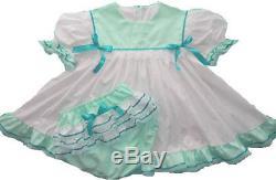 Adult Baby Sissy Simply Mint Square Collar Dress Set Binkies n Bows