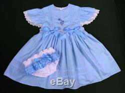 Adult Baby Sissy Vintaqe Style Pin Tuck BLUE Dress Set