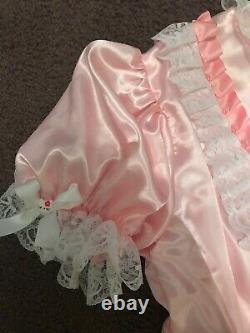 Adult Baby Sissy dress Pink satin hello kitty dress up to 52chest