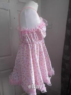 Adult Babysissymaidsunisextv/cd Frilly Ballerina Print Babydollnightie