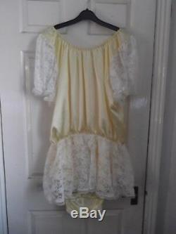 Adult Babyslittlemaidssissyunisex Satin Popper Romper + Lace Skirt& Sleeves