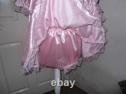 Adult Babysmaidssissyunisex Gorgeous Double Satin & Lace Romper With Skirt