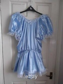 Adult Babysmaidssissyunisex Gorgeous Satin & Lace Poppered Romper With Skirt
