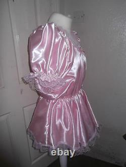 Adult Babysmaidssissyunisex Gorgeous Satin & Lace Romper With Skirt