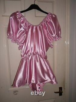 Adult Babysmaidssissyunisex Gorgeous Satin Romper With Skirt