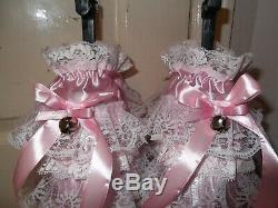 Adult Babyssissymaidsunisexcd/tv Satin & Lace Humiliation Booties With Bells