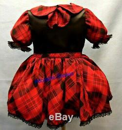 Adult Little Girl Baby Sissy Dress Custom made for you School Girl Plaid