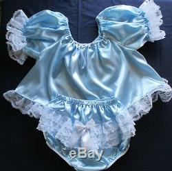 Adult Sissy Baby 2pc Baby Blue Satin shorty dress top and lacey rhumba panties