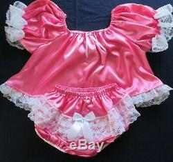 Adult Sissy Baby 2pc Medium Pink Satin shorty dress top and lacey rhumba panties