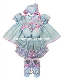 Adult Sissy Baby Eyelet Baby Blue Dress Pink Lace Set