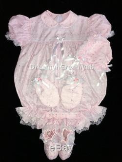 Adult Sissy Baby Eyelet Baby Pink Romper Set (bonnet, Mitten And Booties)