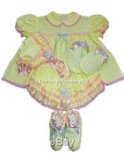 Adult Sissy Baby Eyelet Baby Yellow Dress Set (bonnet, Mitten And Booties)
