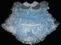 Adult Sissy Baby Frilly Ruffles Baby Dress Set Light Blue