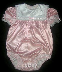 Adult Sissy Baby Girl Bubble Soft Romper Baby Pink Dots Satin