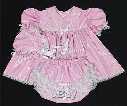 Adult Sissy Baby Pink Pvc Dress 3 Pcs Set