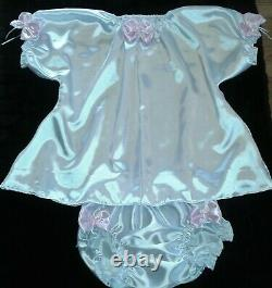Adult Sissy Baby Pink & White Satin Ruffled Dress & Panties Chest 48